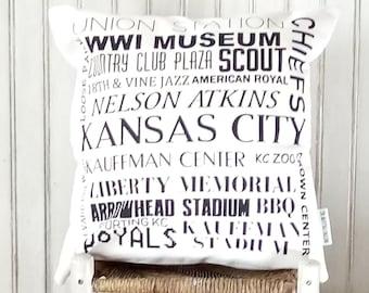 Kansas City Places- Decorative Pillow Cover Only- Kansas City, MO-by Metro Pillow KC