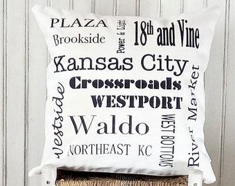 Kansas City Landmarks-Neighborhoods- Decorative Pillow Cover Only- Kansas City, MO-by Metro Pillow KC
