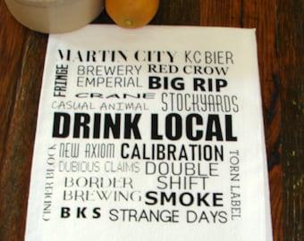 Drink Local Kansas City Brewery Flour Sack Tea Towel-by METRO PILLOW KC