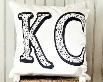 KC Animal Print Kansas City Initial Pillow Cover- Decorative Pillow Cover Only- Kansas City, MO-by Metro Pillow KC