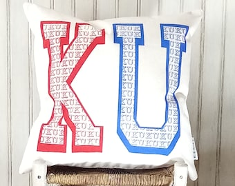 University of Kansas-Jayhawks Rock Chalk - Decorative Pillow Cover Only- Kansas City, MO-by Metro Pillow KC