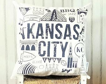 Kansas City Icons- Decorative Pillow Cover Only- Kansas City, MO-by Metro Pillow KC