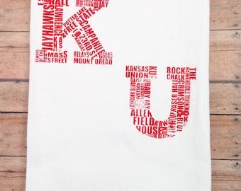 KU University of Kansas Red Flour Sack Tea Towel