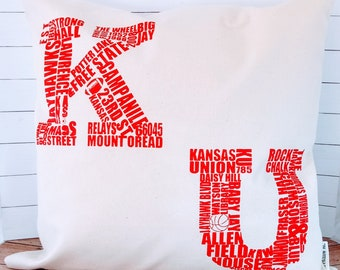 University of Kansas-Jayhawks Things and Places Red- Decorative Pillow Cover Only- Kansas City, MO-by Metro Pillow KC