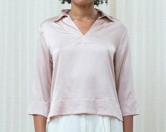 3a6839f57c3fc 90s pink liquid silk blouse medium