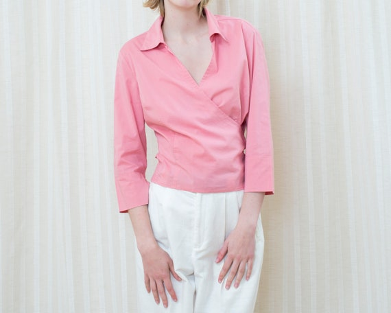 90s pink wrap around blouse medium | bright pink w