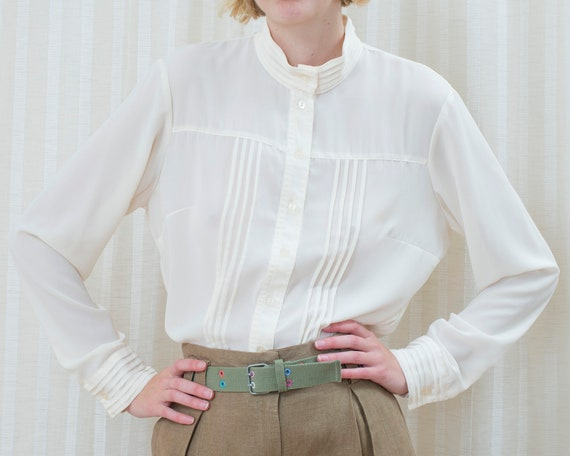 70s off white sheer high neck pintuck blouse large