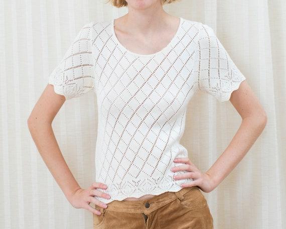 90s white cotton crochet knit top | small crochet