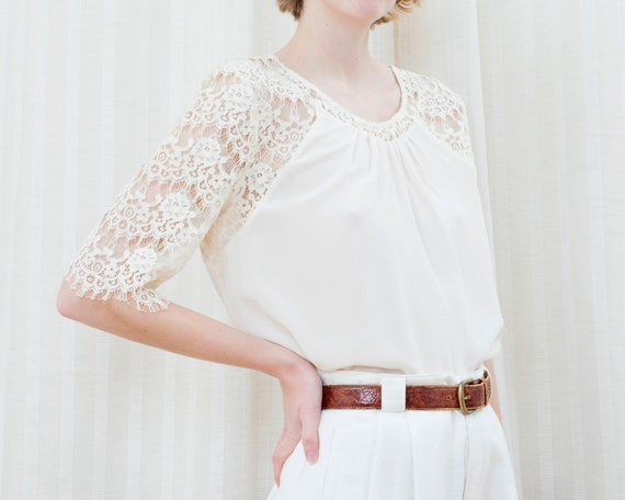 90s off white silk lace blouse | cream ivory lace… - image 4
