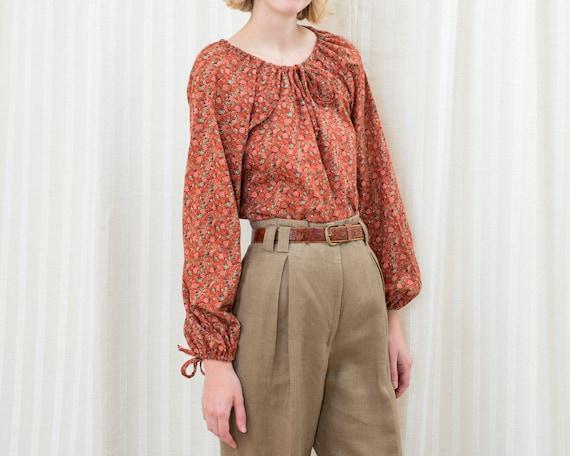 70s Vintage Blouse Button Up Bohemian Floral Brown Burned Orange Patterned Blouse for Women