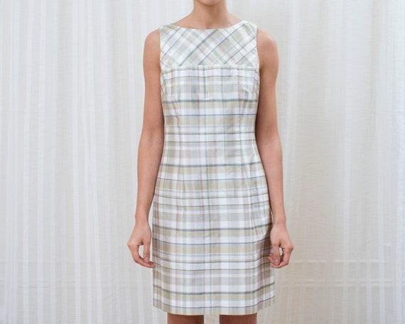 90s pink plaid dress | silk mini dress | plaid che