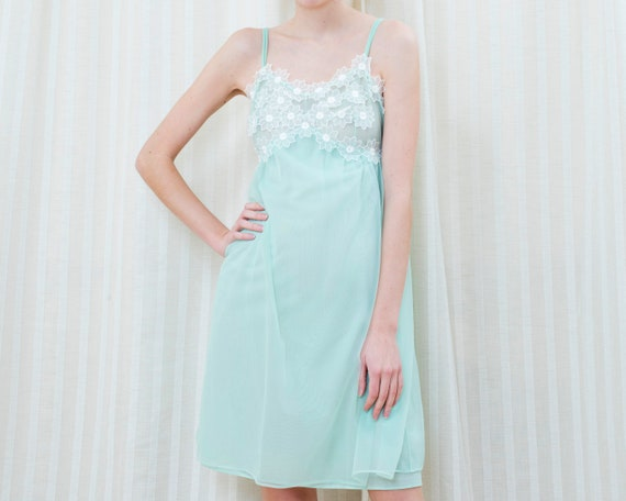 50s mint green slip babydoll slip dress | flower a
