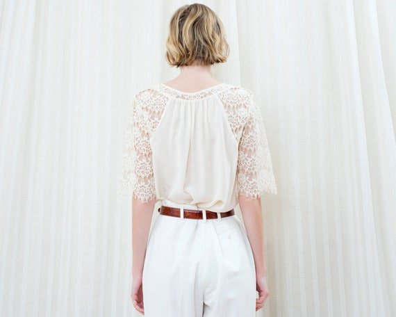 90s off white silk lace blouse | cream ivory lace… - image 6