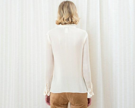 90s ivory pleated blouse | medium off white accor… - image 6