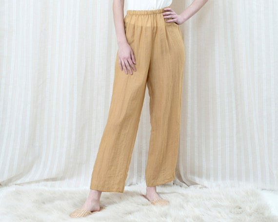80s yellow high waisted pants medium | minimalist