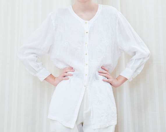 90s white linen blouse large   embroidered sheer t