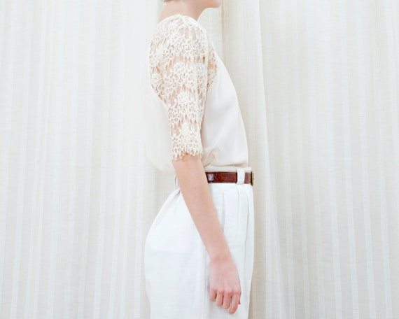 90s off white silk lace blouse | cream ivory lace… - image 5