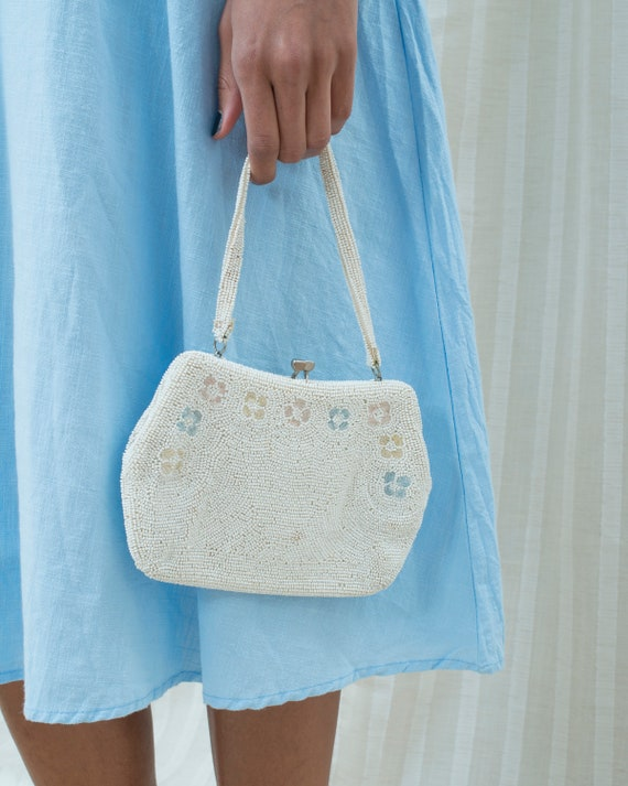 50s white beaded mini purse | floral beaded mini b