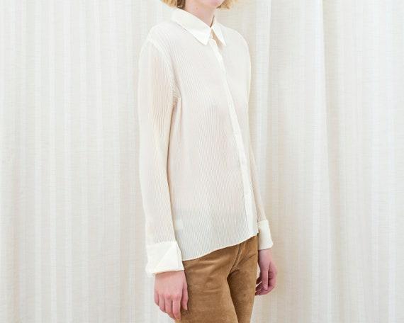 90s ivory pleated blouse | medium off white accor… - image 4