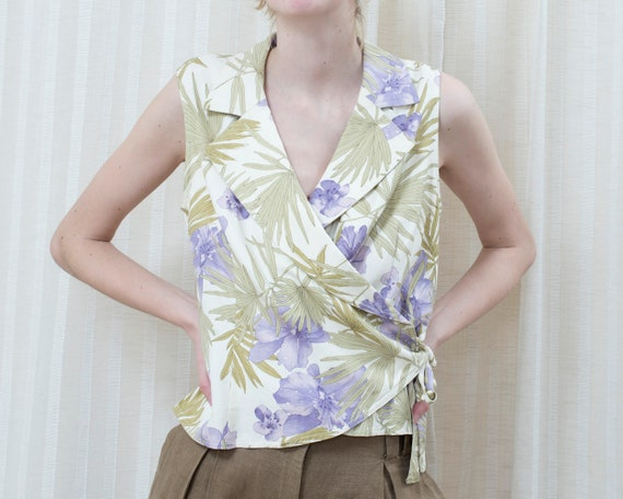 90s purple green silk floral wrap blouse | wrap ar
