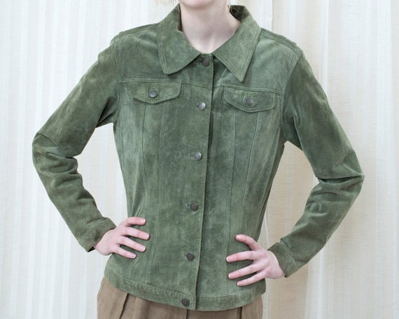 90s sage green suede leather jacket medium | light