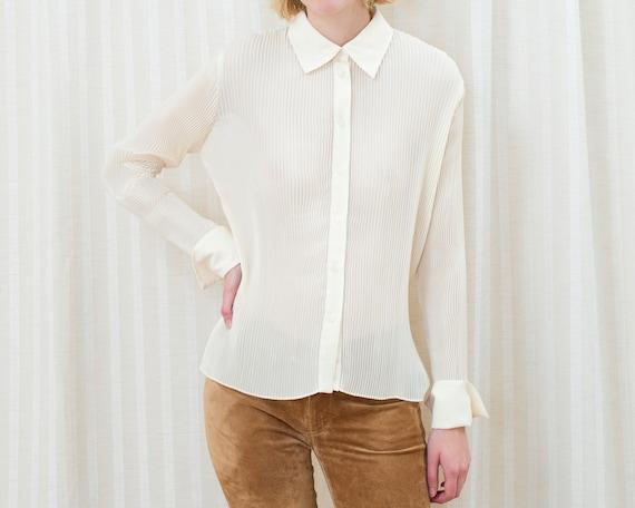 90s ivory pleated blouse | medium off white accor… - image 1