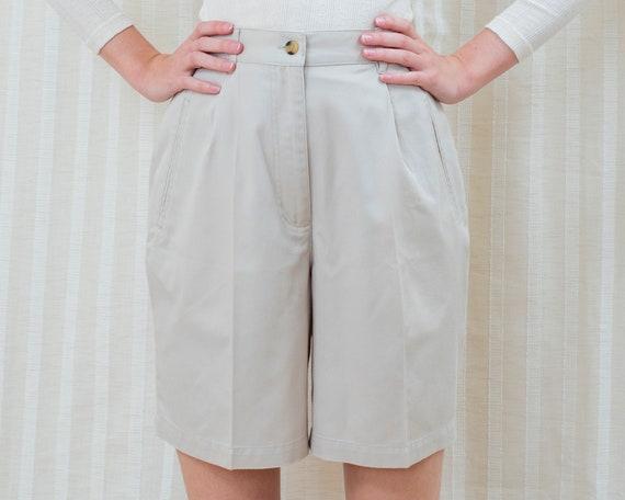 90s White Twill High Waist Shorts S M 28 Waist