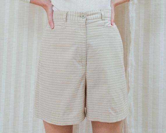90s tan plaid shorts | check high waisted high ris