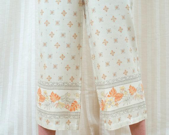 90s silk beige printed cropped wide leg pants 30 … - image 4