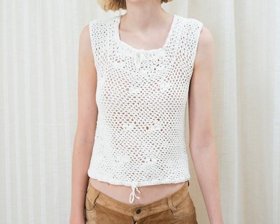 70s white crochet sleeveless sweater | crochet hi… - image 6