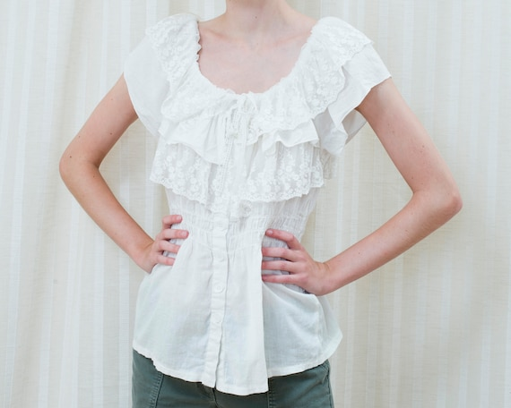 90s white lace ruffle blouse | ruffle collar peasa