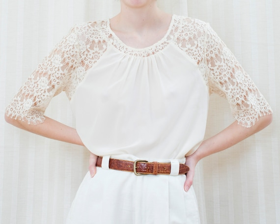 90s off white silk lace blouse | cream ivory lace… - image 3