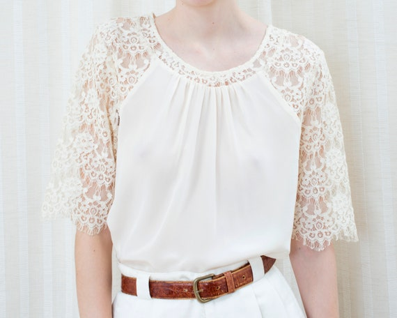 90s off white silk lace blouse | cream ivory lace… - image 1