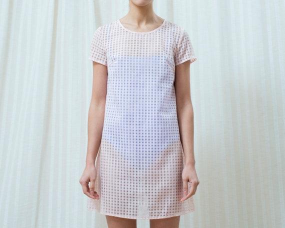 90s pink gingham sheer mini dress xs   see through