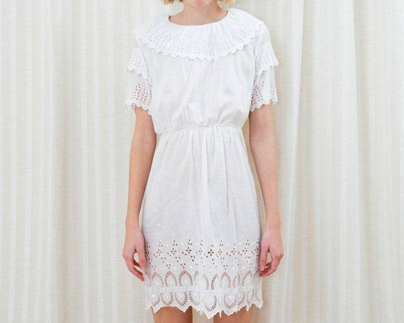 vintage 1920s white cotton dress xs   ruffle colla