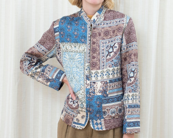90s blue patchwork print jacket | bohemian hippie