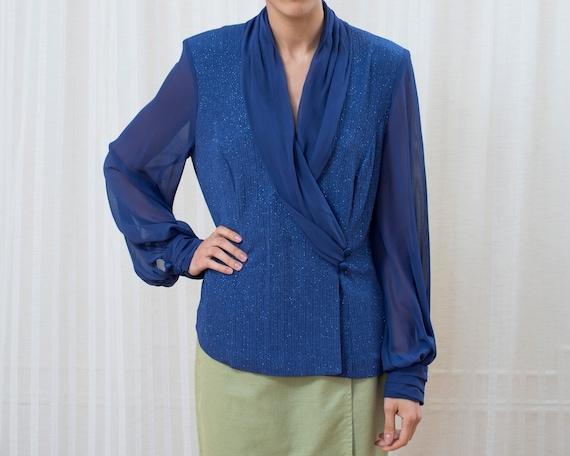 80s large purple evening blouse | shawl collar wra
