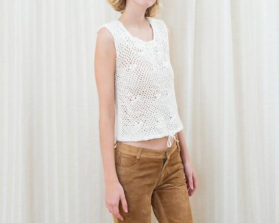 70s white crochet sleeveless sweater | crochet hi… - image 3
