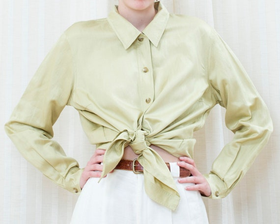 80s lime green silk blouse   emanuel ungaro liber… - image 2