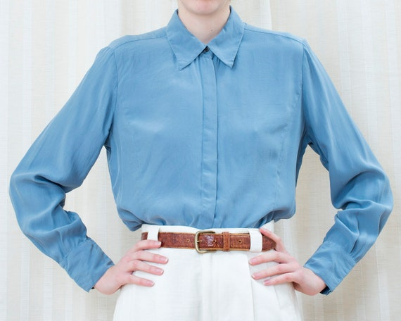 90s light blue silk blouse medium   pale blue silk