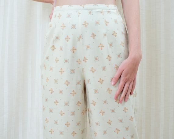 90s silk beige printed cropped wide leg pants 30 … - image 2