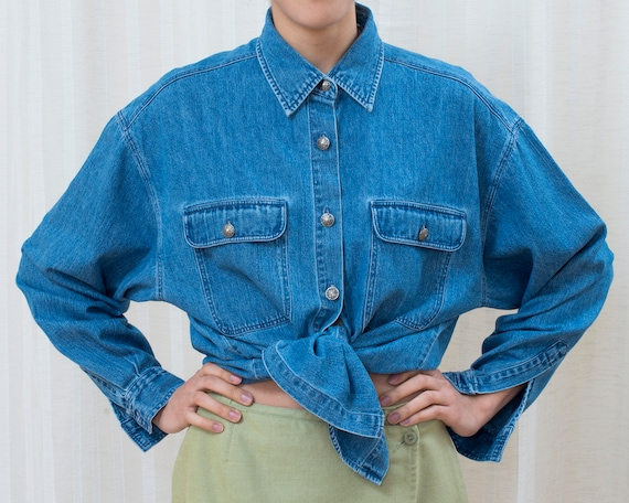 80s denim button down shirt | blue jean shirt | co