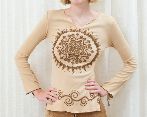 90s tan mandala glitter blouse | small beige knit