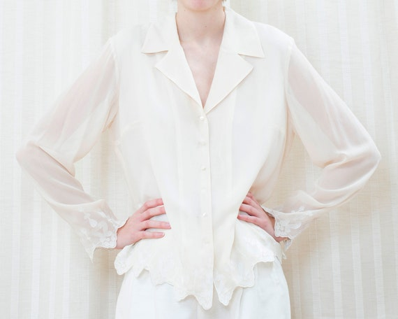 90s off white sheer lace blouse large   cream see