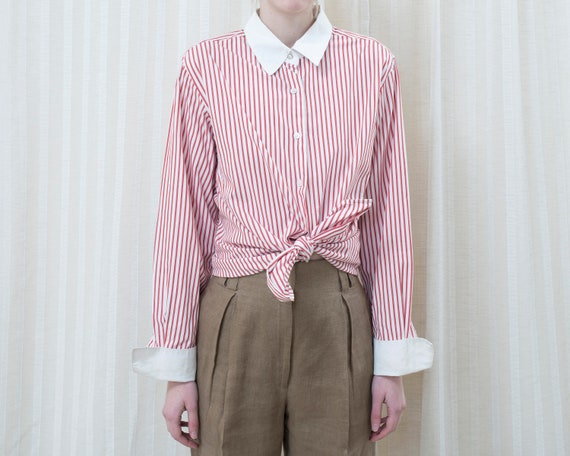 80s red bengal stripe shirt large   white contrast