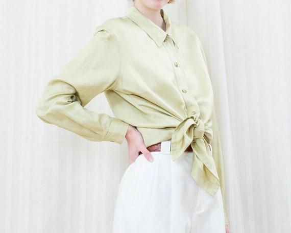 80s lime green silk blouse   emanuel ungaro liber… - image 3