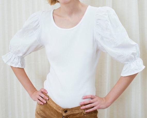 70s white puff sleeve blouse | folk blouse shirt |