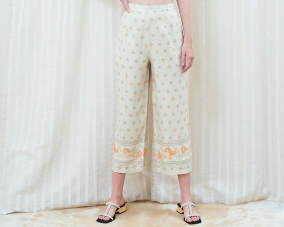 90s silk beige printed cropped wide leg pants 30 … - image 1