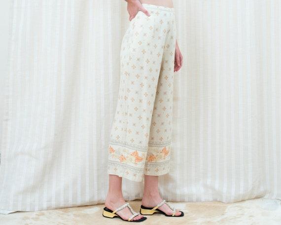 90s silk beige printed cropped wide leg pants 30 … - image 5