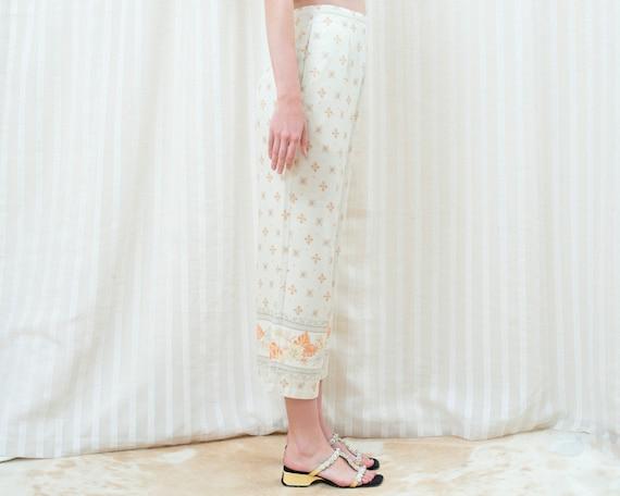 90s silk beige printed cropped wide leg pants 30 … - image 6